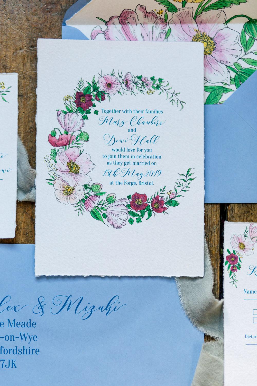 Floral Statonery Invite Invitation Playful Cool Wedding Ideas Sophie Lake Photography