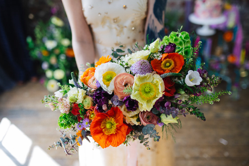 Bride Bridal Bouquet Flowers Colourful Poppy Poppies Playful Cool Wedding Ideas Sophie Lake Photography