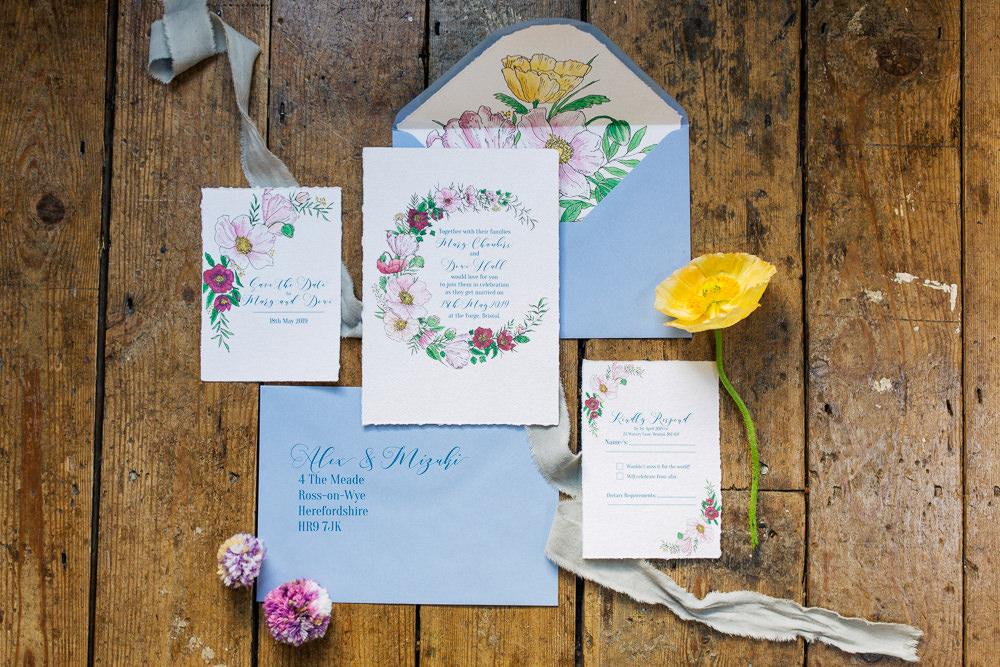 Floral Statonery Invite Invitation Blue Playful Cool Wedding Ideas Sophie Lake Photography