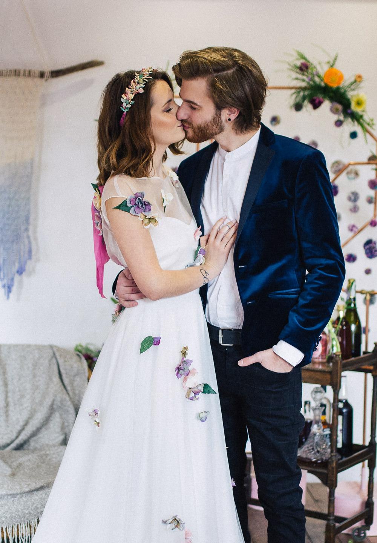 Bride Bridal Dress Gown Floral Flowers Applique Playful Cool Wedding Ideas Sophie Lake Photography