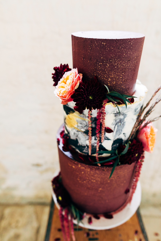 Cake Orange Burgundy Flowers Marble Gold Retro Wedding Ideas Emily Little Wedding Photography