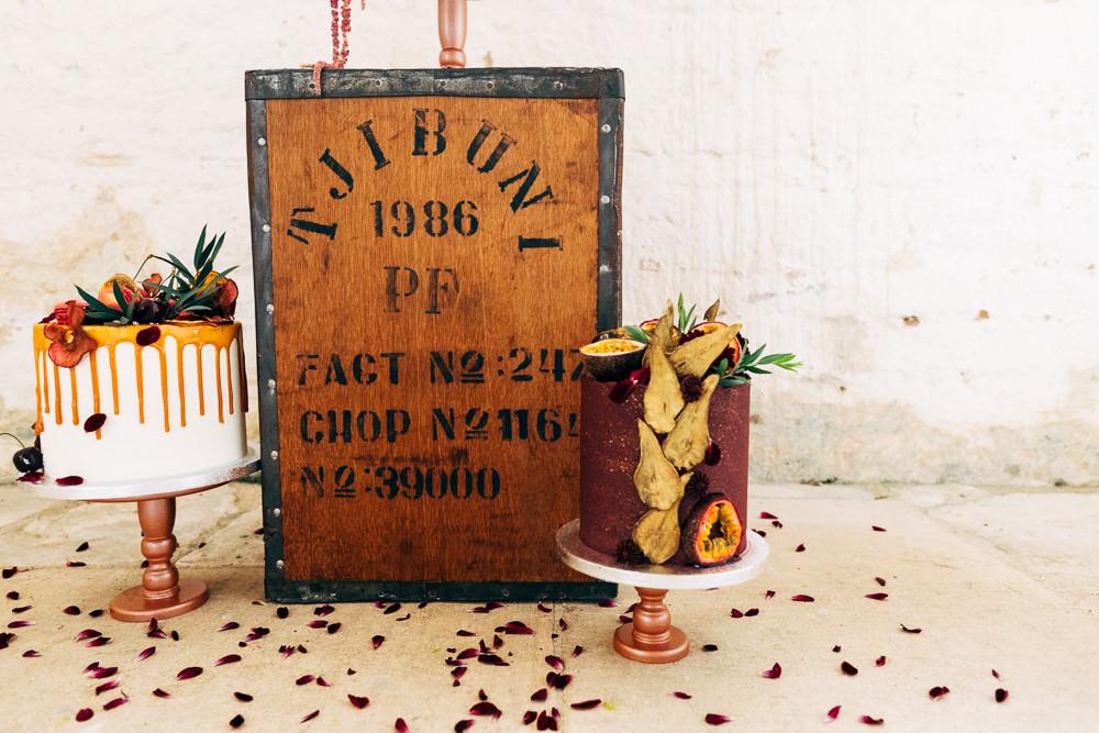 Cake Orange Burgundy Flowers Gold Retro Wedding Ideas Emily Little Wedding Photography