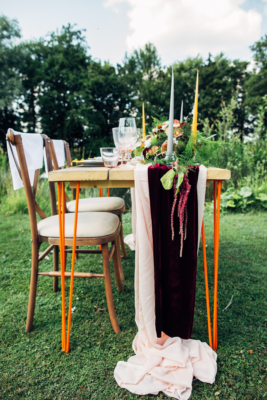 Table Tablescape Decor Flowers Runner Burgundy Orange Candles Retro Wedding Ideas Emily Little Wedding Photography