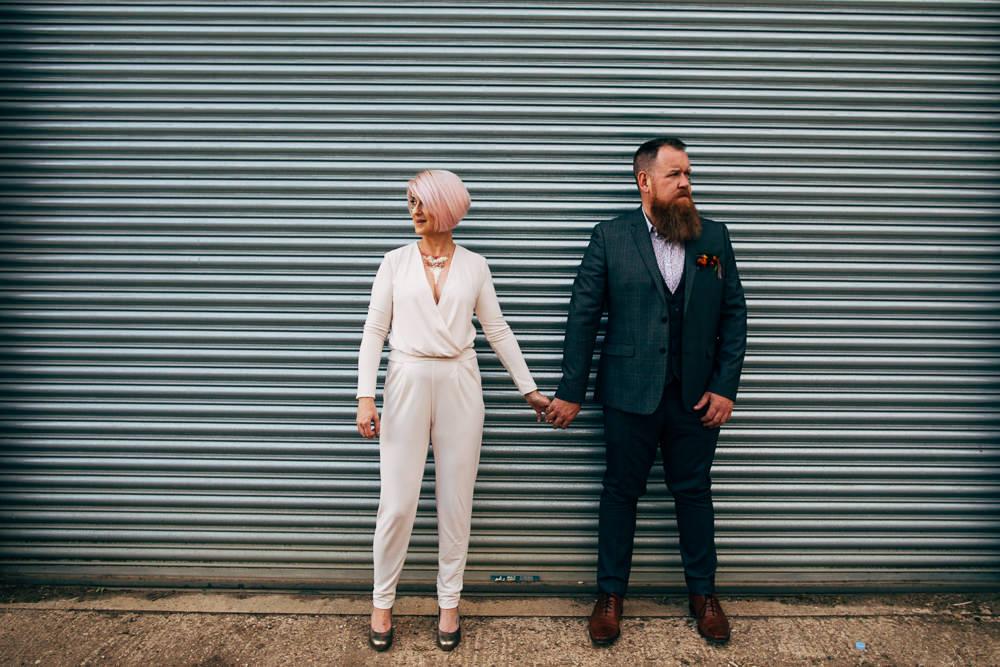 Groom Suit Grey Check Floral Shirt Retro Wedding Ideas Emily Little Wedding Photography