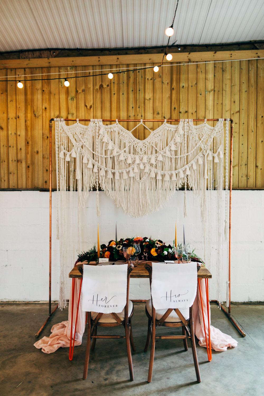 Table Tablescape Backdrop Macrame Frame Festoon Lights Decor Decoration Retro Wedding Ideas Emily Little Wedding Photography