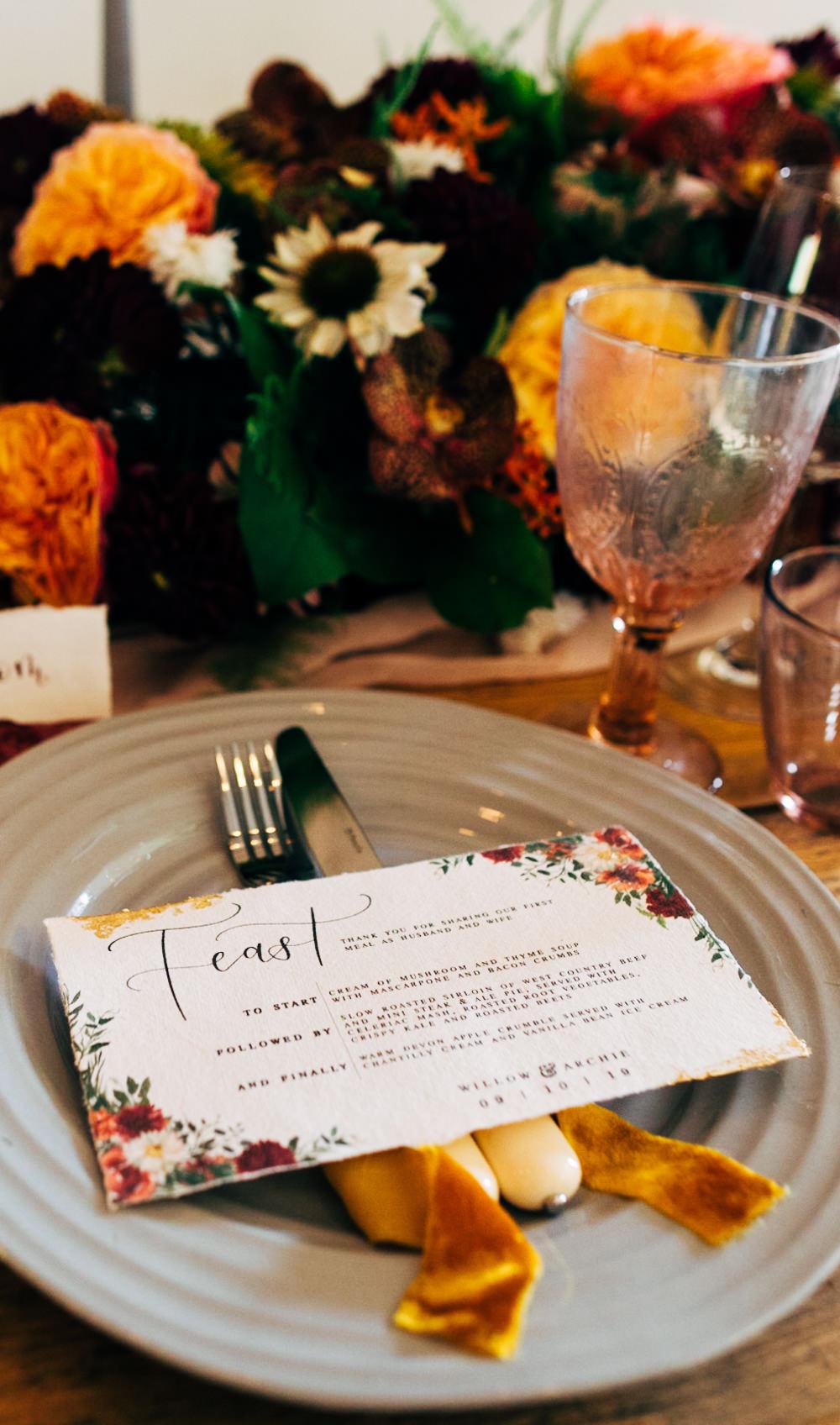Place Setting Plate Menu Floral Menu Retro Wedding Ideas Emily Little Wedding Photography