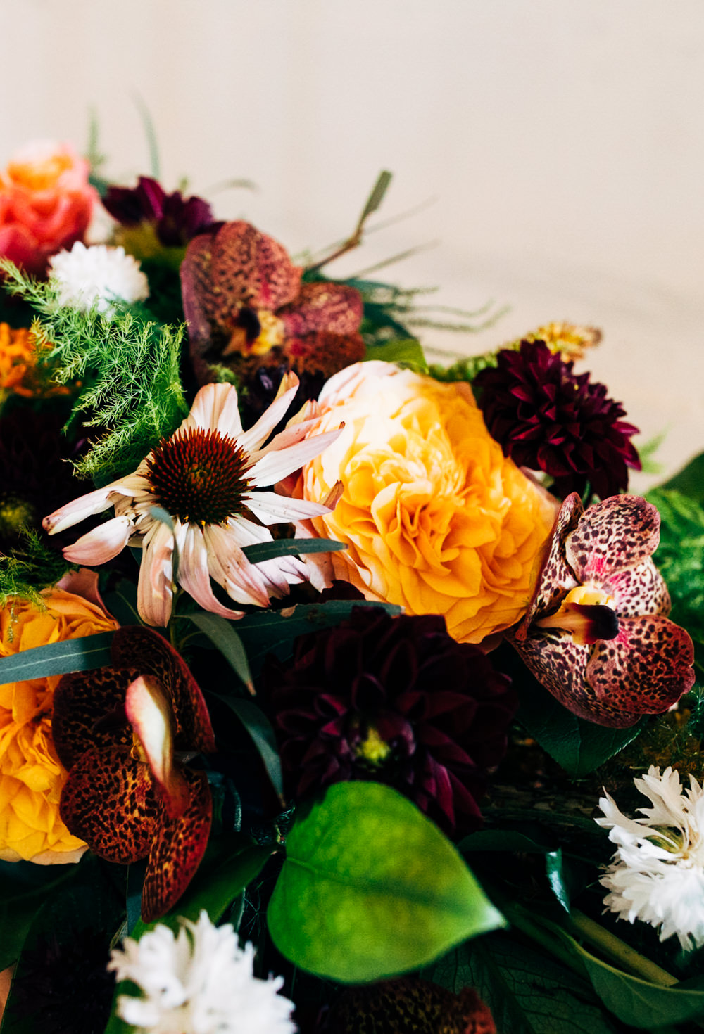 Table Flowers Autumn Dahlias Orchids Echinacea Rose Red Hot Pokers Butterflyweed Amaranthus Menthe Grevillea Asparagus Ferns Retro Wedding Ideas Emily Little Wedding Photography