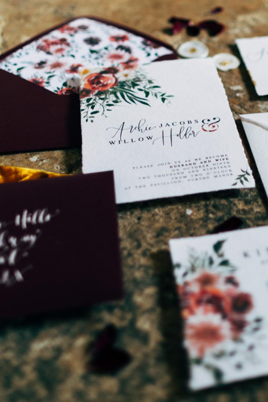 Invite Invitations Stationery Bordeaux Floral Gold Retro Wedding Ideas Emily Little Wedding Photography