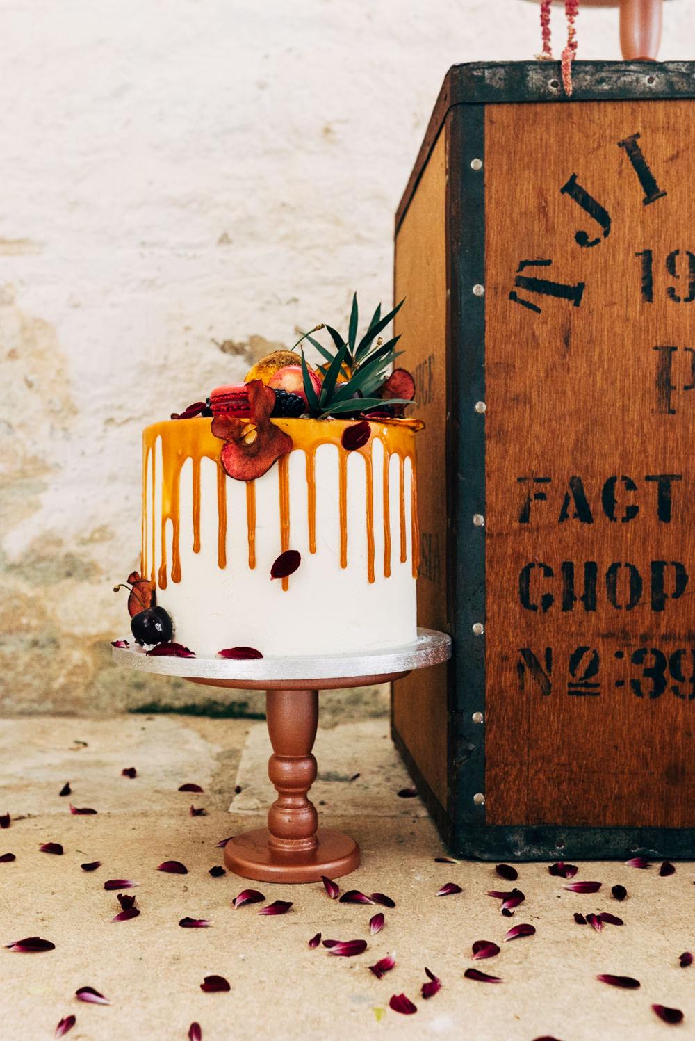 Drip Cake Orange Flowers Retro Wedding Ideas Emily Little Wedding Photography