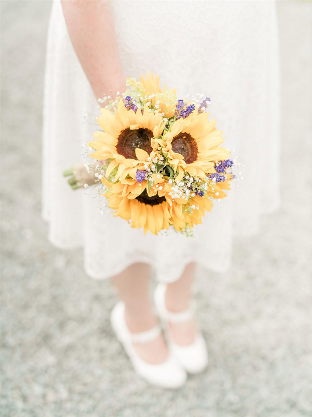 Bride Bridal Sunflower Gypsophila Bouquet Surprise Wedding Carn Patrick Photography