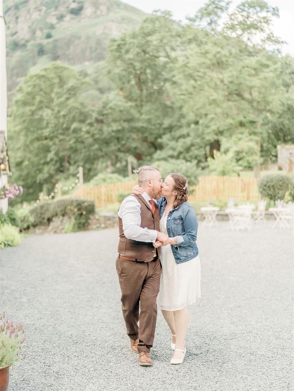 Bride Bridal Long Sleeve Tea Length Dress Lace Slaters Tweed Three Piece Suit Waistcoat Groom Denim Jacket Surprise Wedding Carn Patrick Photography