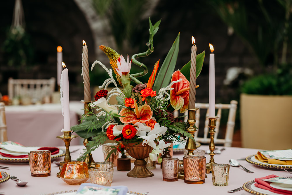 Flower Arrangement Candles Centrepiece Metal Palm Leaf Birds of Paradise Protea Hanging Orchids Anthurium Tropical Wedding Ideas When Charlie Met Hannah