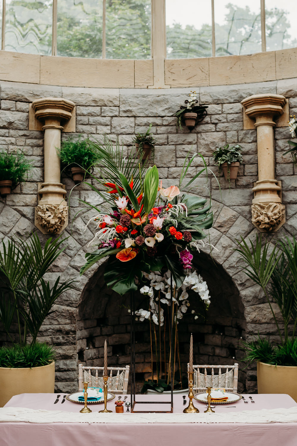 Flower Arrangement Tall Centrepiece Metal Palm Leaf Birds of Paradise Protea Hanging Orchids Anthurium Tropical Wedding Ideas When Charlie Met Hannah