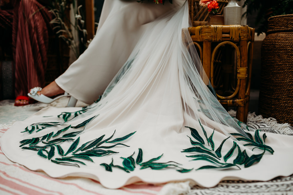 Dress Gown Bride Bridal Leaves Tropical Wedding Ideas When Charlie Met Hannah