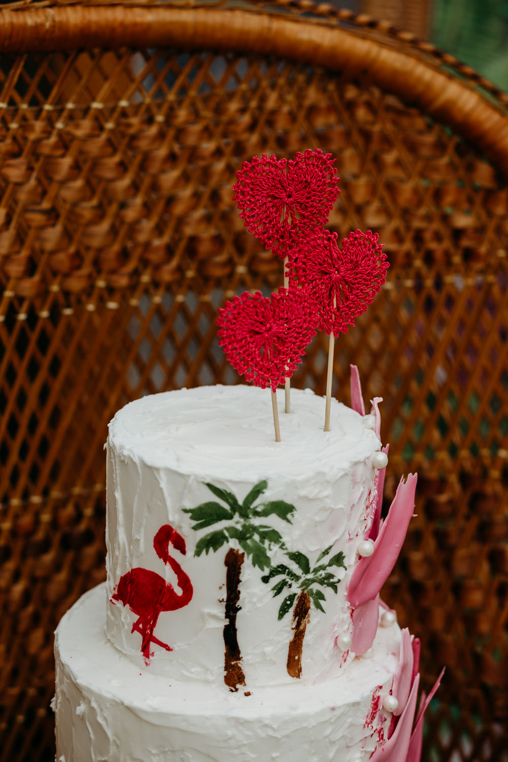 Cake Buttercream Flamingos Brush Strokes Palm Trees Crochet Heart Topper Tropical Wedding Ideas When Charlie Met Hannah