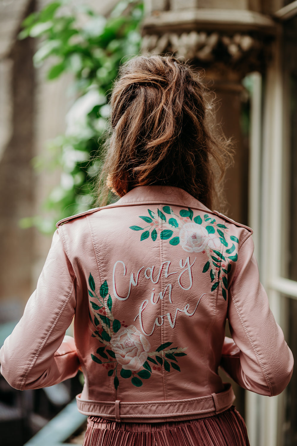 Bride Bridal Jacket Pink Painted Personalised Leather Tropical Wedding Ideas When Charlie Met Hannah