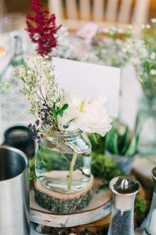 Wildflower Jars Florals Table Utopia Broughton Hall Wedding Christopher Thomas Photography
