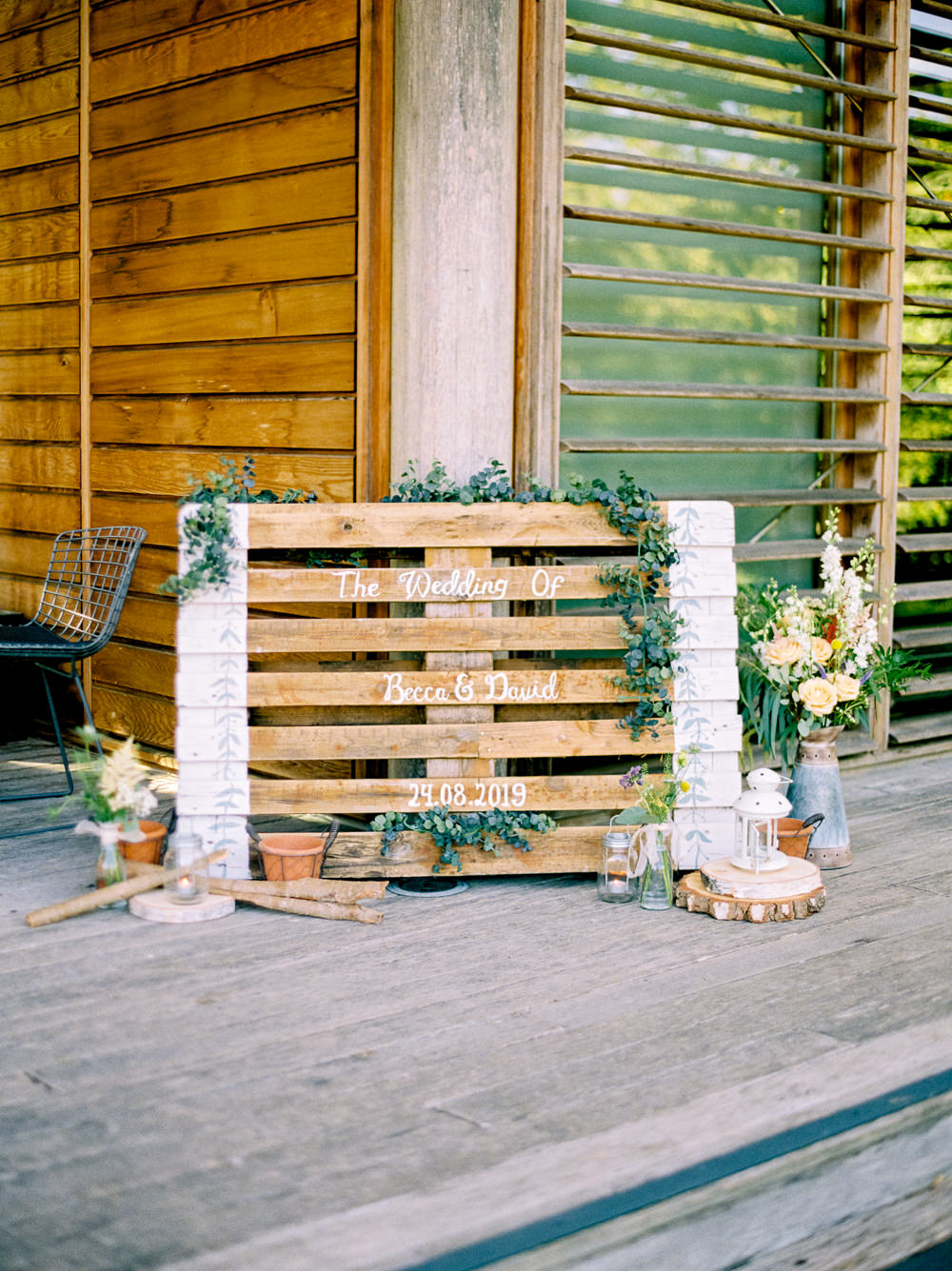 Pallet Sign Welcome Wooden Foliage Flowers Floral Utopia Broughton Hall Wedding Christopher Thomas Photography