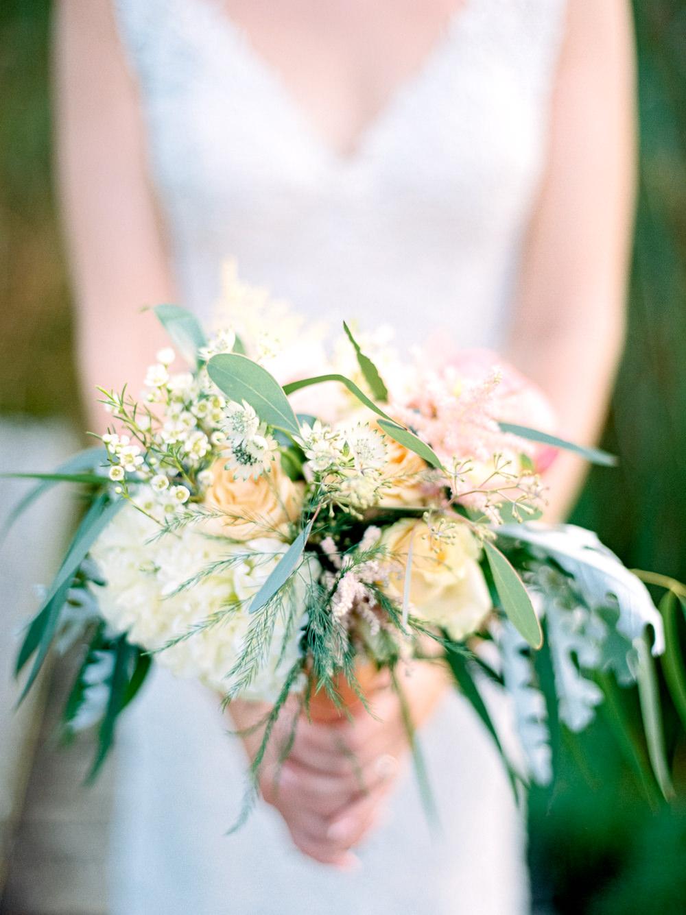 Bride Bridal Bouquet Greenery Rose Daisy Utopia Broughton Hall Wedding Christopher Thomas Photography