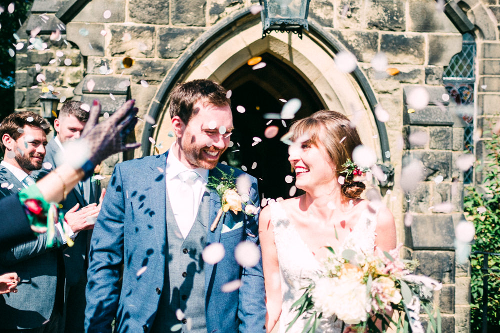 Bride Bridal Low V Neck Back Gown Dress Navy Three Piece Waistcoat Suit Groom Confetti Utopia Broughton Hall Wedding Christopher Thomas Photography