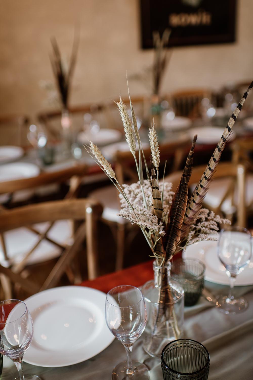 Grass Wheat Feather Table Centrepiece Flowers Bottles Decor Voewood Wedding Ellie Gillard Photography