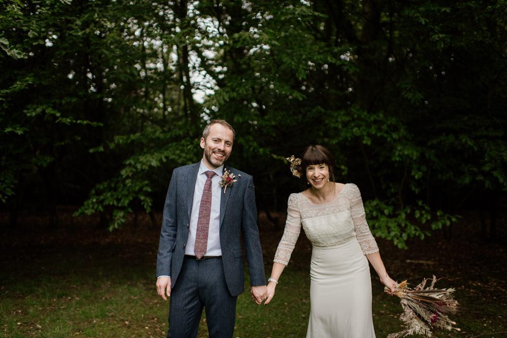 Groom Suit Blue Tweed Buttonhole Flowers Tie Voewood Wedding Ellie Gillard Photography