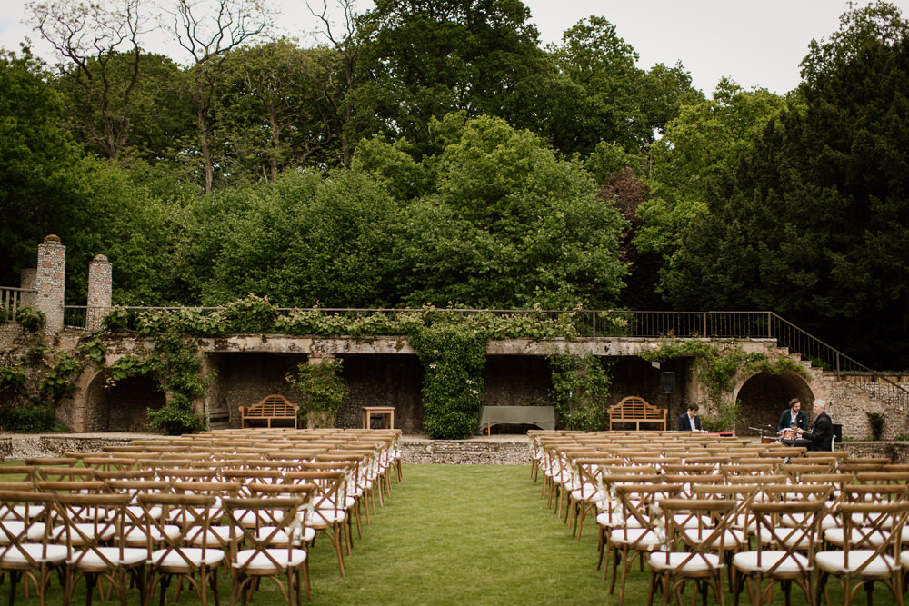 Outdoor Ceremony Cross Back Chairs Voewood Wedding Ellie Gillard Photography