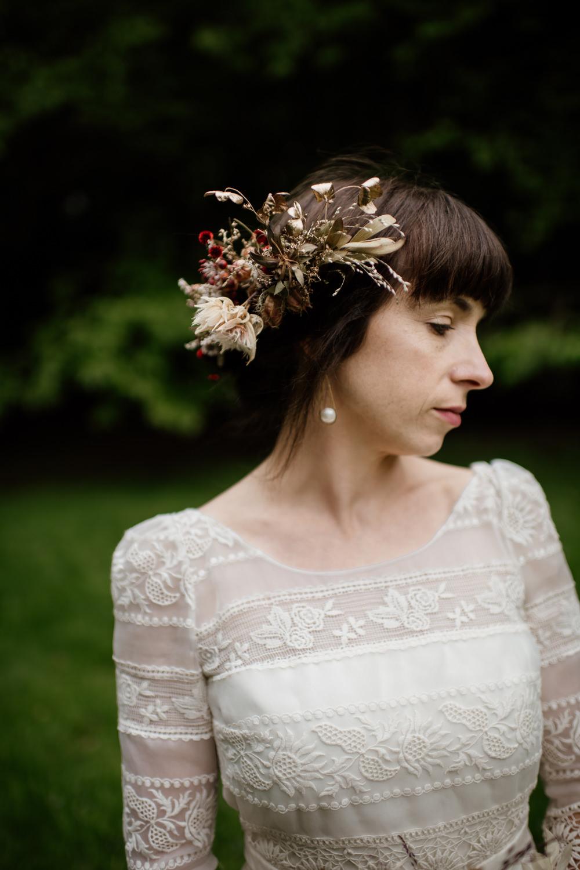Hair Style Up Do Bride Bridal Headdress Flower Crown Dried Flowers Seed Heads Grasses Voewood Wedding Ellie Gillard Photography