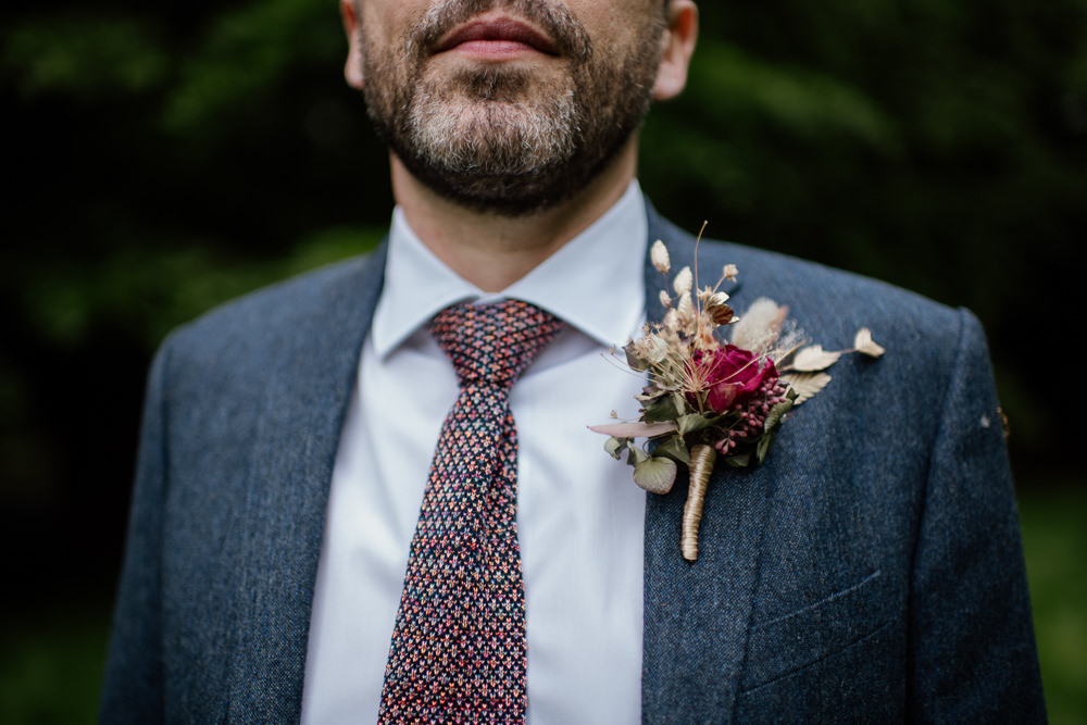 Groom Suit Blue Tweed Buttonhole Dried Flowers Tie Voewood Wedding Ellie Gillard Photography