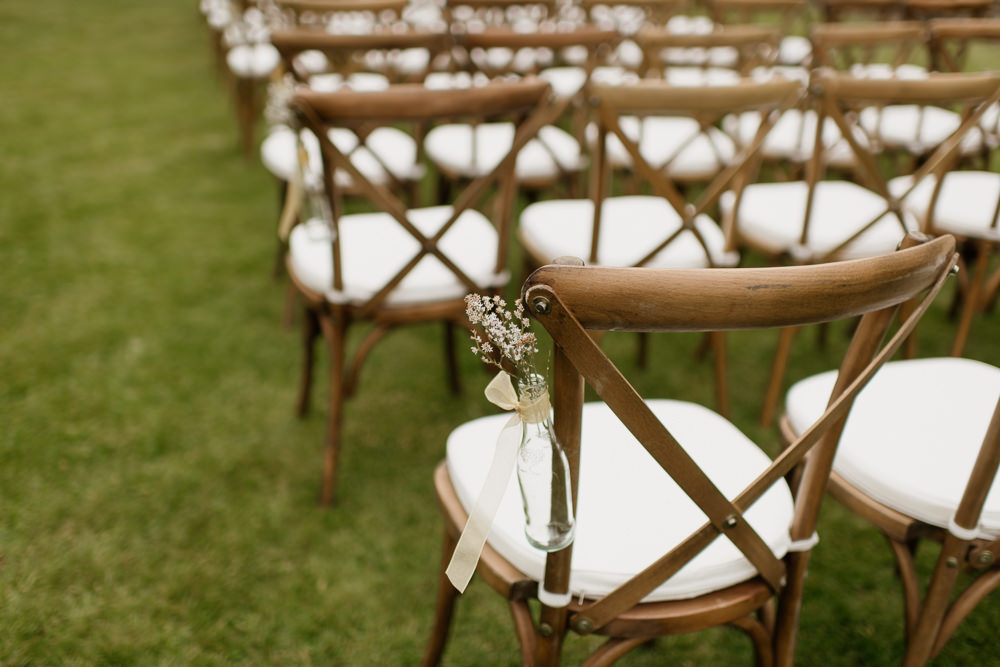 Outdoor Ceremony Cross Back Chairs Aisle Pew End Flowers Voewood Wedding Ellie Gillard Photography