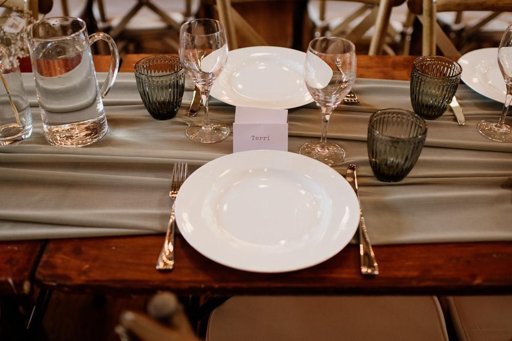 Place Setting Decor Name Card Plate Runner Voewood Wedding Ellie Gillard Photography