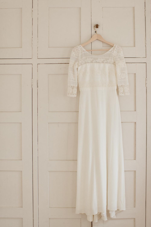 Dress Gown Bride Bridal Laure de Sagazan Lace Long Sleeves Open Back Voewood Wedding Ellie Gillard Photography
