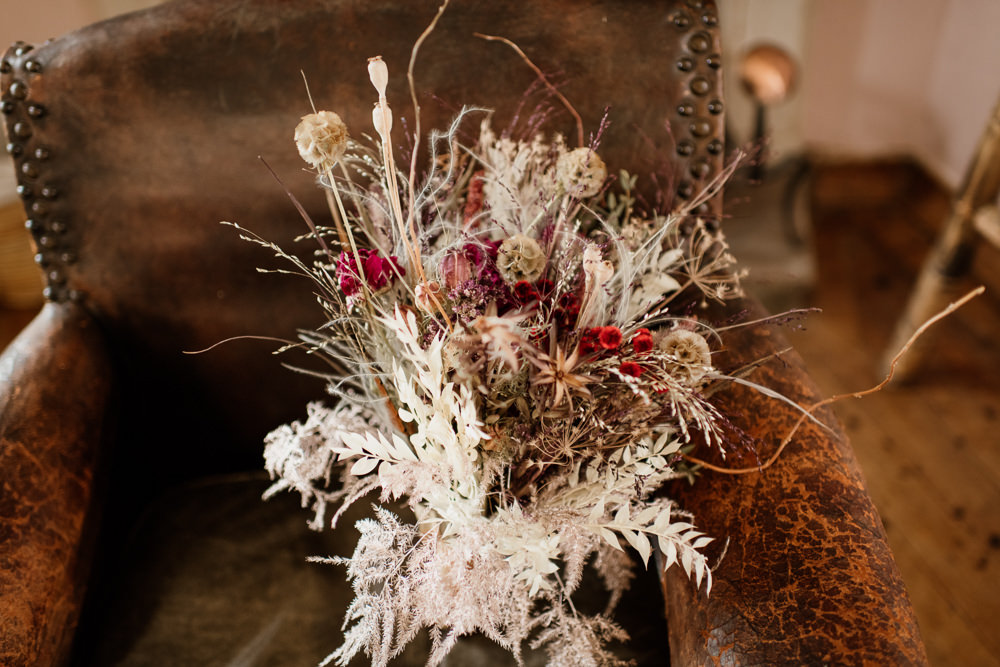 Bouquet Flowers Bride Bridal Dried Flowers Seed Heads Grasses Voewood Wedding Ellie Gillard Photography