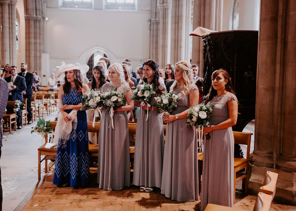 Mauve Bridesmaids Lace Cap Sleeve Dress Willingale Village Hall Wedding Photographer Liam Gillan