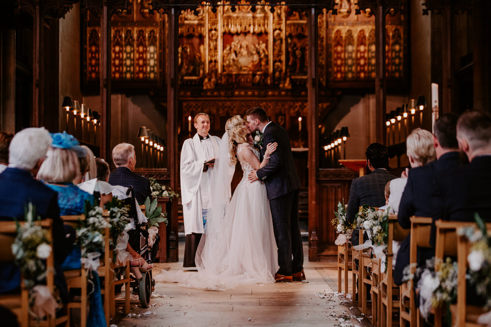 Bride Bridal Blush Embroidered Floral Strappy V Neck Tulle Dress Gown Tweed Suit Groom Willingale Village Hall Wedding Photographer Liam Gillan