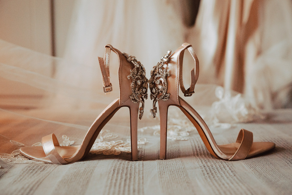 Bride Bridal Shoes Pink Blush Willingale Village Hall Wedding Photographer Liam Gillan