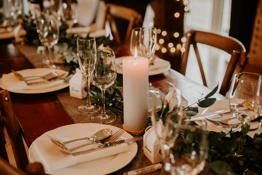 Dining Greenery Foliage Runner Candles Willingale Village Hall Wedding Photographer Liam Gillan