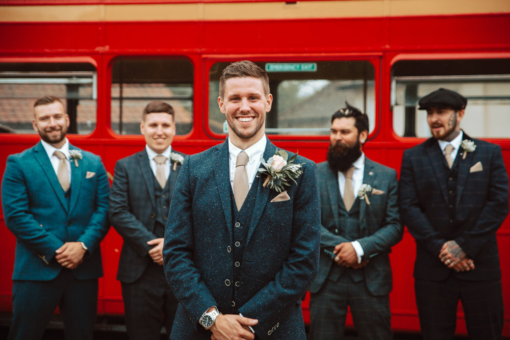 Three Piece Suit Tweed Groom Groomsmen Willingale Village Hall Wedding Photographer Liam Gillan
