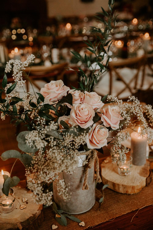 Milk Churn Florals Pink Blush Rose Gypsophila Willingale Village Hall Wedding Photographer Liam Gillan