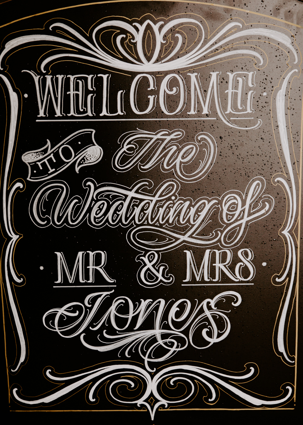 Chalk Board Welcome Sign Willingale Village Hall Wedding Photographer Liam Gillan