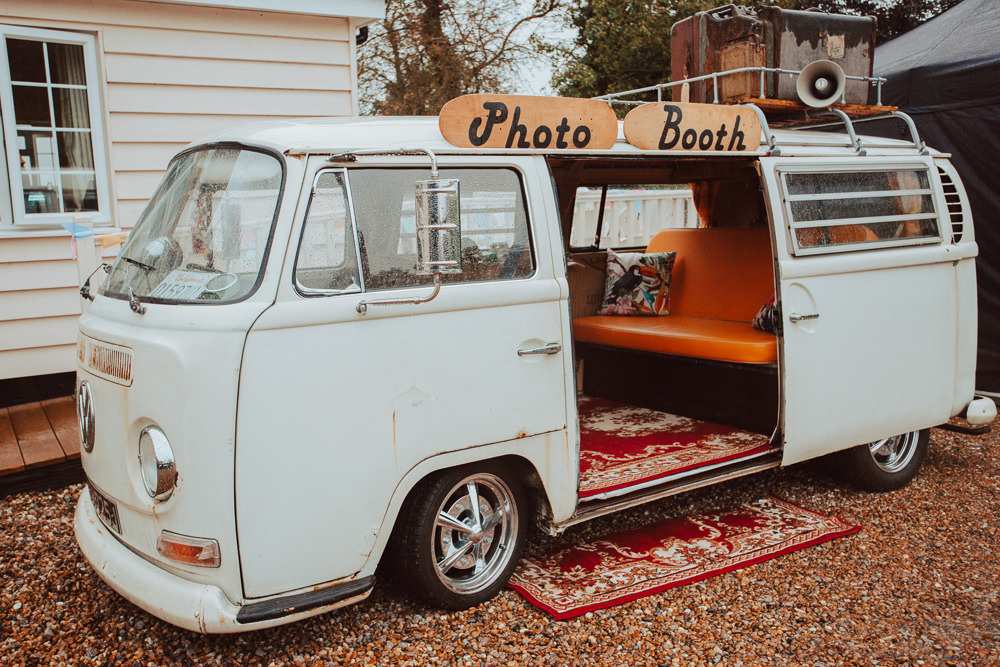 VW Camper Van Photo Booth Willingale Village Hall Wedding Photographer Liam Gillan