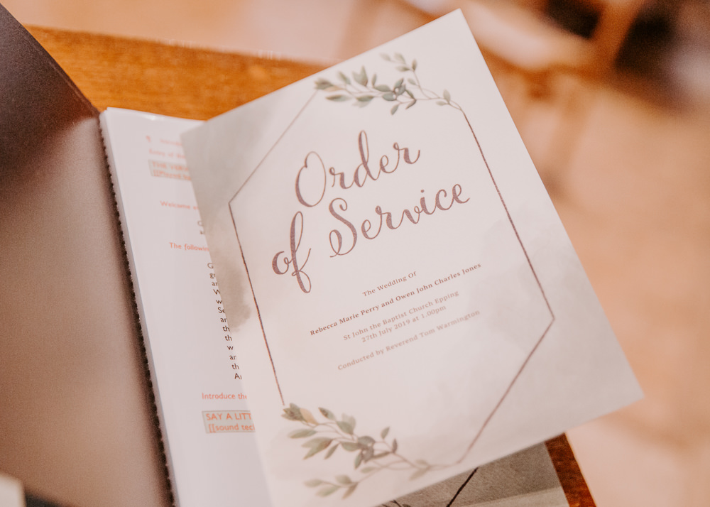 Stationery Order of Service Blush Willingale Village Hall Wedding Photographer Liam Gillan
