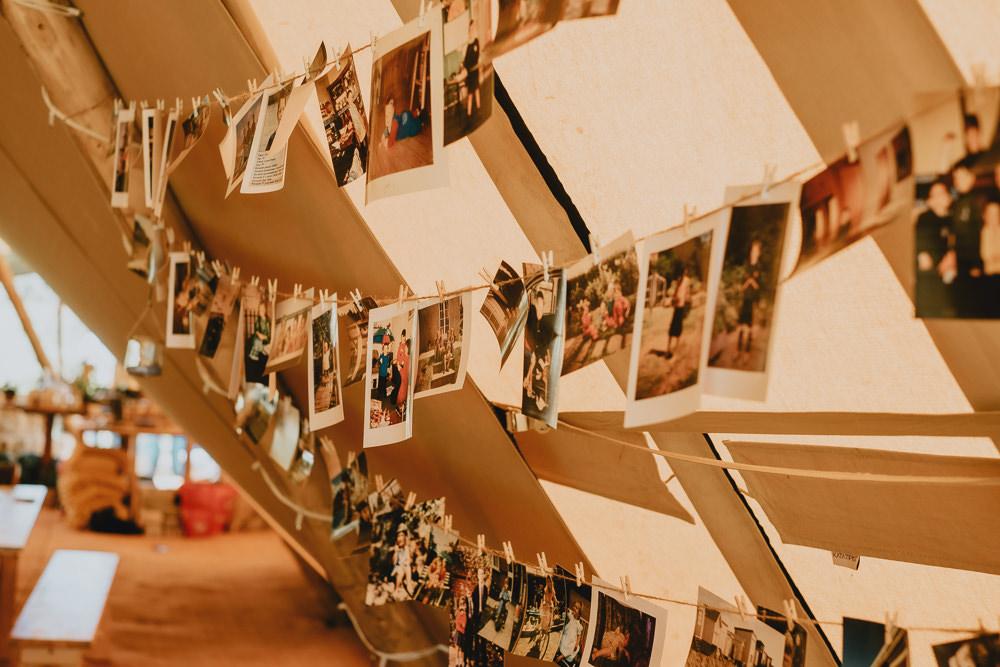 Polaroid Photograph Peg Twine Woodland Tipi Wedding Caroline Goosey Photography