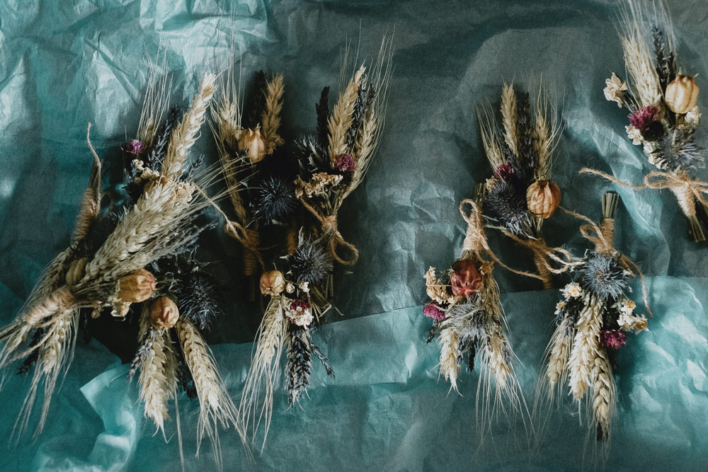 Dried Flowers Wheat Buttonholes Boutonnière Woodland Tipi Wedding Caroline Goosey Photography