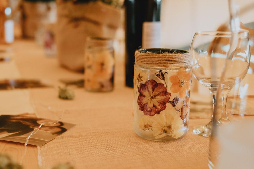 Dried Petal Candle Jar Woodland Tipi Wedding Caroline Goosey Photography