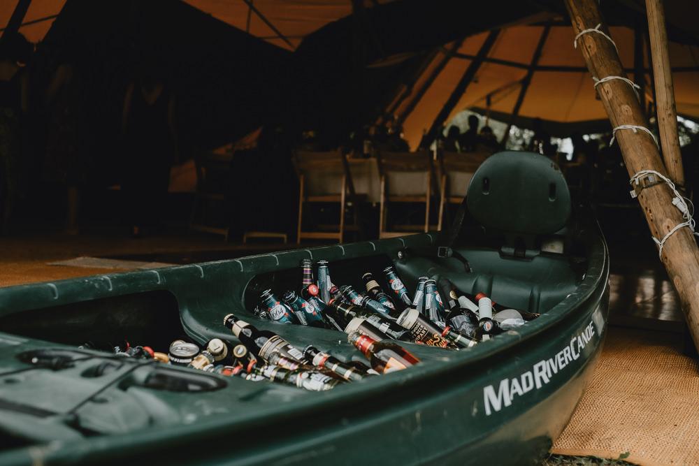 Canoe Beer Drinks Woodland Tipi Wedding Caroline Goosey Photography