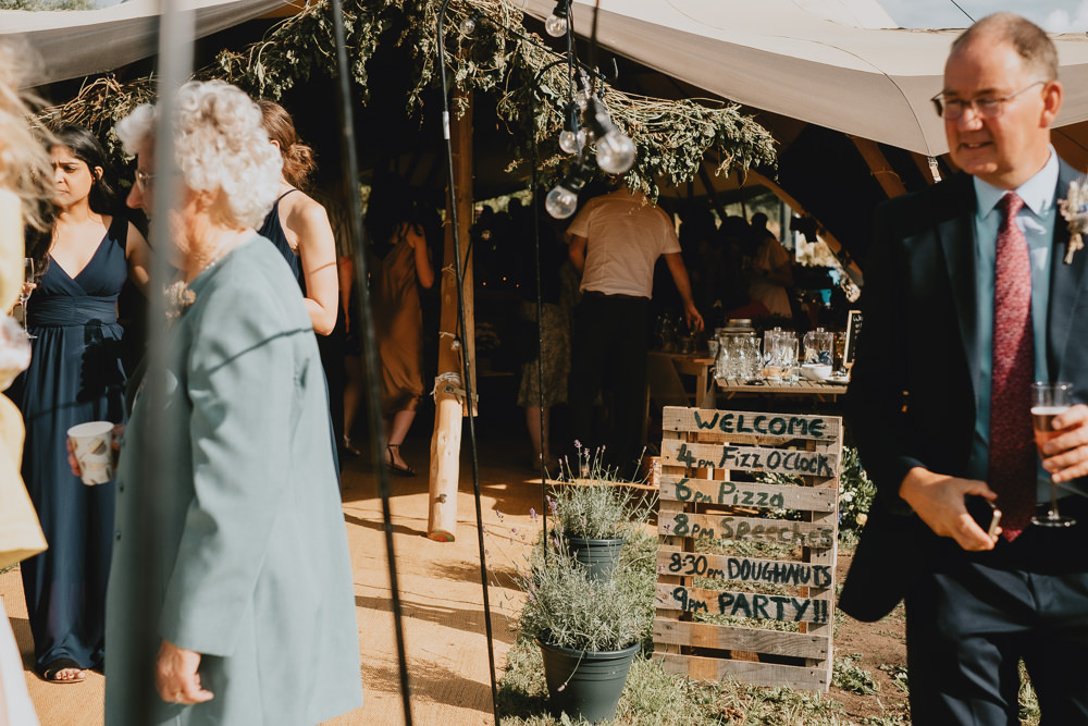 Order of Day Sign Pallet Woodland Tipi Wedding Caroline Goosey Photography