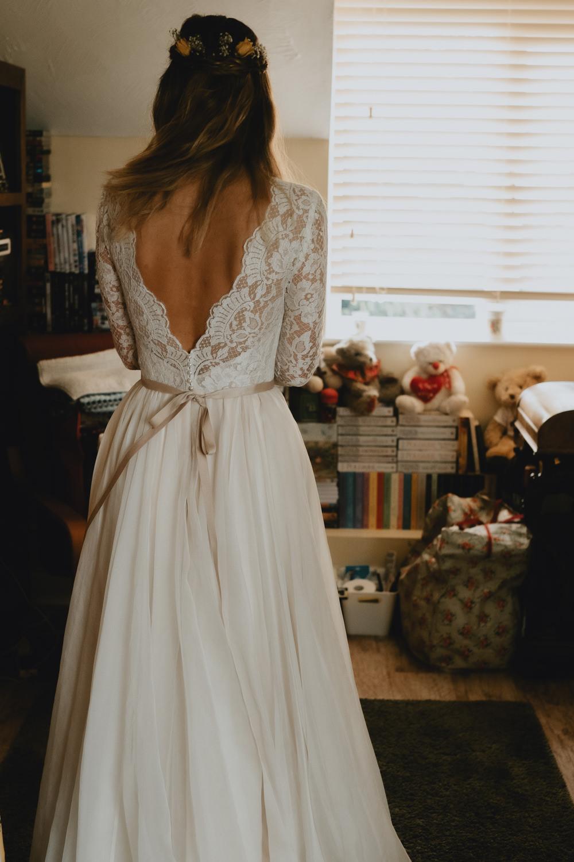 Bride Bridal V Back Dress Ribbon Belt Lace Gown Dress Woodland Tipi Wedding Caroline Goosey Photography