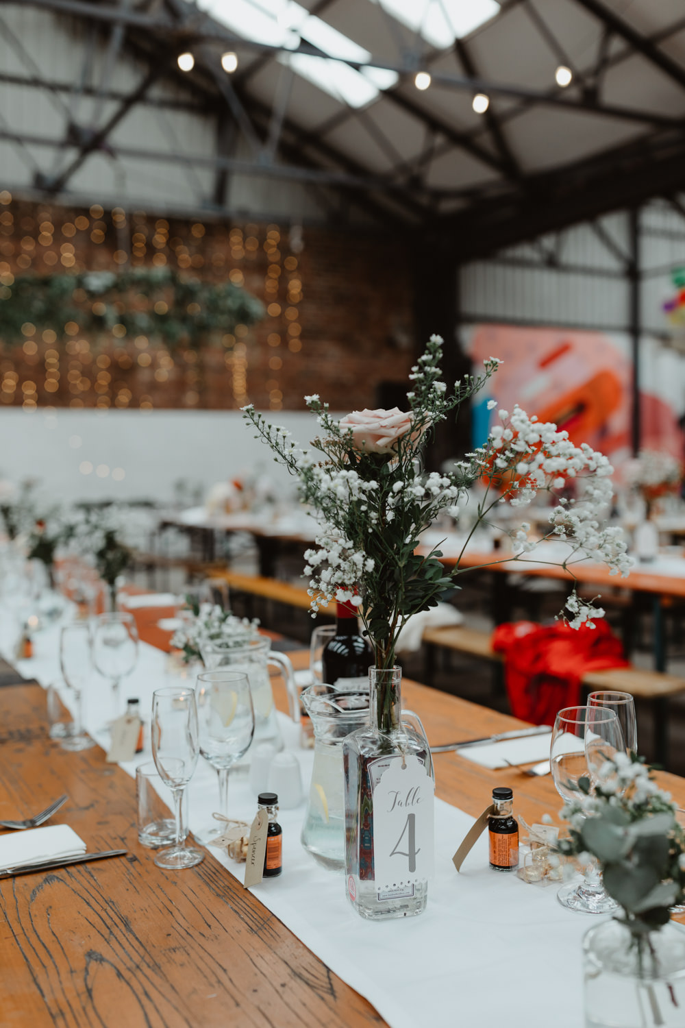 Reception Venue Industrial Warehouse Benches Long Tables Flowers Decor Decoration Runners Festoon Lights 92 Burton Road Wedding Stevie Jay Photography