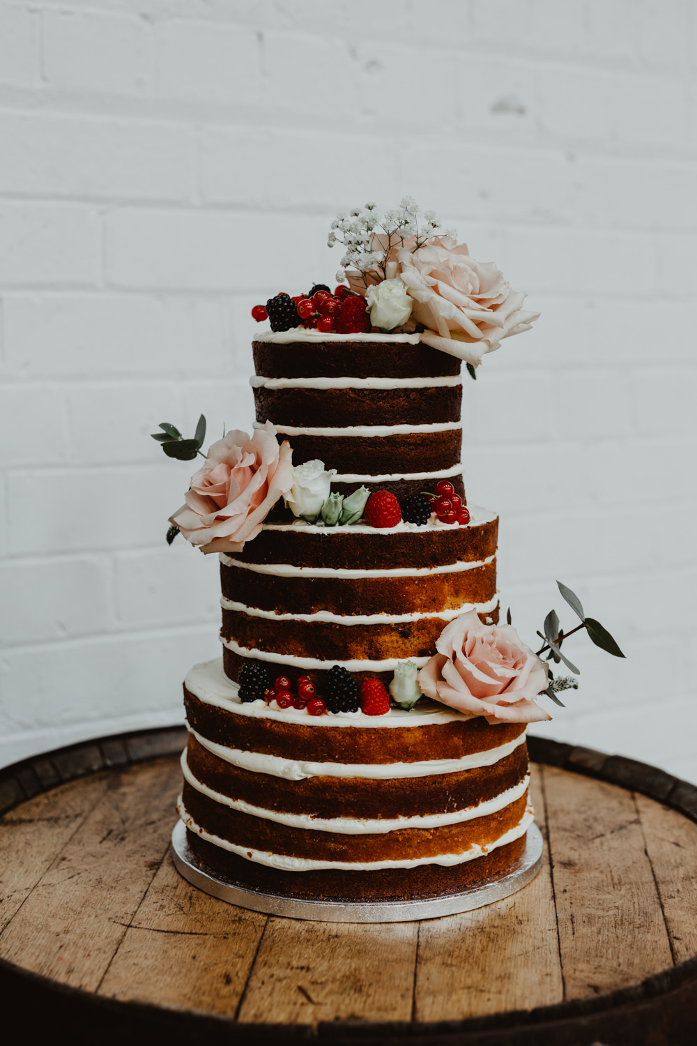 Naked Cake Layer Sponge Flowers Tall 92 Burton Road Wedding Stevie Jay Photography